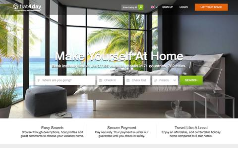 Screenshot of Home Page flat4day.com - Flat4Day - Vacation Rentals, Furnished Homes - captured Sept. 18, 2015