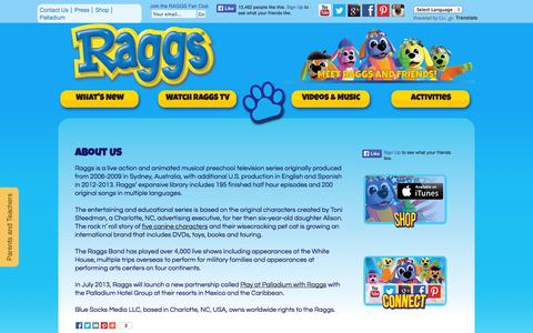 Screenshot of About Page raggs.com - Kids Show I Preschool & Early Childhood Development | About RAGGS - captured Oct. 5, 2014