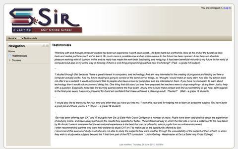 Screenshot of Testimonials Page ssir.co.za - SSir: Testimonials - captured Sept. 30, 2014