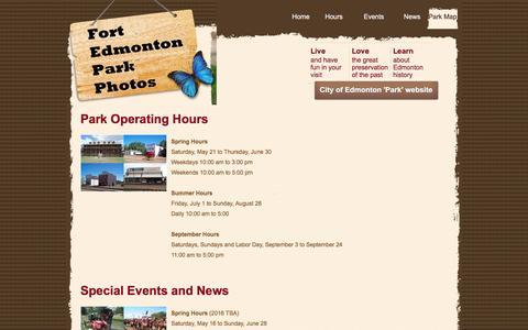 Screenshot of Press Page Hours Page ftedmontonpark.com - Fort Edmonton Park - captured June 20, 2016