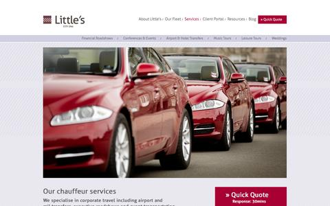 Screenshot of Services Page littles.co.uk - Our chauffeur service - Professional, reliable & discreet | Little's - captured Oct. 28, 2014