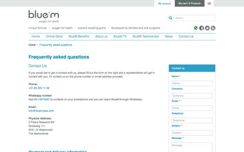 Screenshot of Contact Page Terms Page bluemcare.com - BlueM | Contact us - BlueM - captured July 29, 2016
