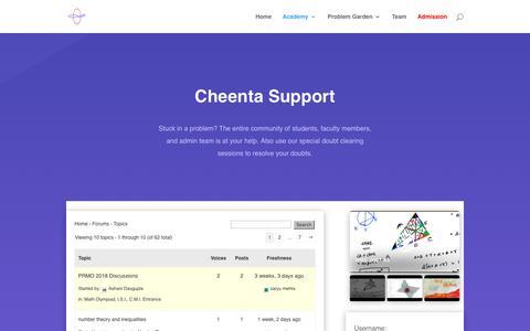 Screenshot of Support Page cheenta.com - Support | Cheenta Ganit Kendra - captured Sept. 27, 2018