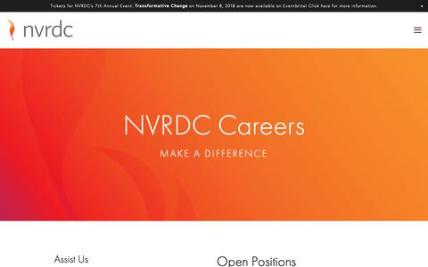 Screenshot of Jobs Page nvrdc.org - Careers — NVRDC - captured Oct. 19, 2018