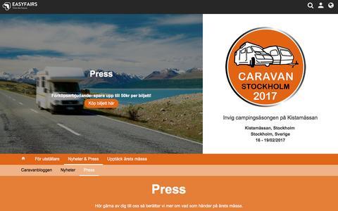 Screenshot of Press Page easyfairs.com - Press / Caravan Stockholm 2017, Stockholm - Easyfairs - captured Jan. 25, 2017