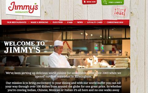 Screenshot of Home Page jimmysrestaurants.com - Jimmy's Restaurants | World Buffet Restaurants & Multi-Cuisine - captured Sept. 7, 2015