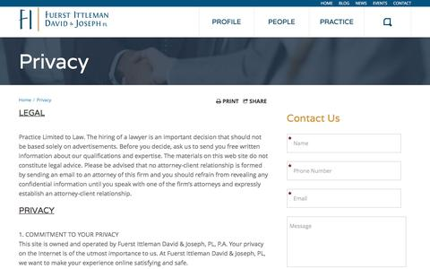 Screenshot of Privacy Page fuerstlaw.com - Privacy Policy - Fuerst Ittleman David & Joseph - captured Nov. 25, 2016