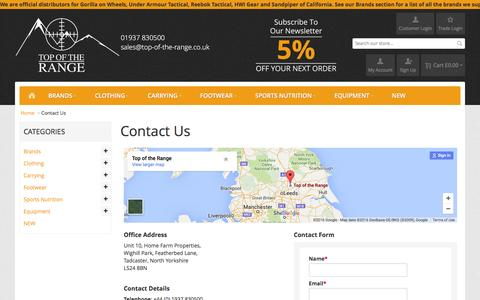 Screenshot of Contact Page top-of-the-range.co.uk - Contact Us  - Top of the Range - captured Feb. 17, 2016