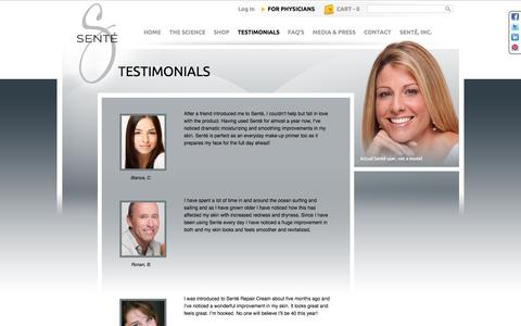Screenshot of Testimonials Page sentelabs.com - Testimonials | Senté - captured Sept. 17, 2014