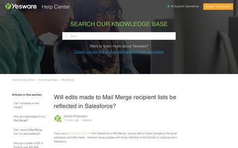 Screenshot of Support Page yesware.com - Will edits made to Mail Merge recipient lists be reflected in Salesforce? – Yesware Help Center - captured July 12, 2019