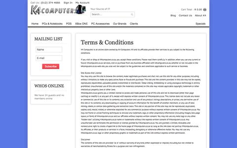 Screenshot of Terms Page k4.co.za - Terms & Conditions | K4.co.za - captured Oct. 6, 2014