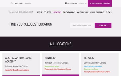 Screenshot of Locations Page stageschool.com.au - Locations | Stage School Australia - captured July 28, 2017