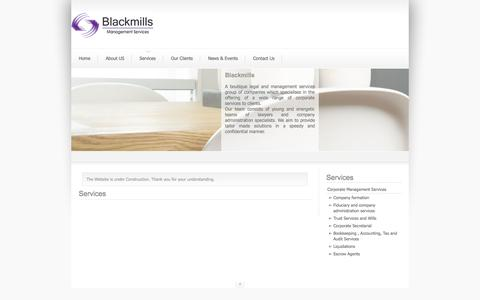Screenshot of Services Page blackmills.com - Services - captured Oct. 5, 2014
