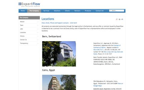 Screenshot of Locations Page expertflow.com - Locations - captured Sept. 30, 2014