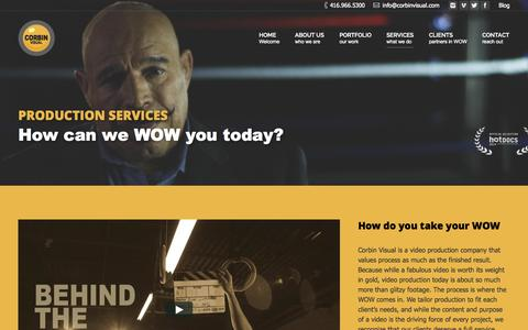 Screenshot of Services Page corbinvisual.com - Services - Toronto Video Production - Creative Video Production - Corbin Visual - Conference Video - Educational & Training - Media Production - captured July 24, 2015