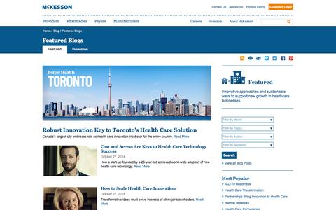 Screenshot of Blog mckesson.com - Featured Blogs - captured Oct. 29, 2014