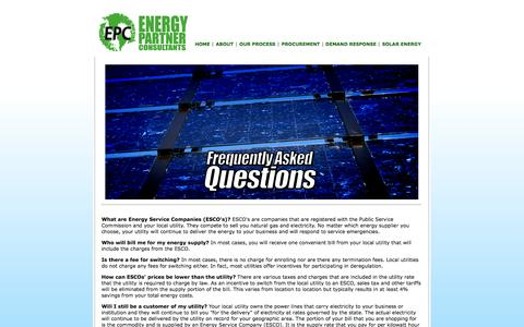 Screenshot of FAQ Page energypartnerconsultants.com - Energy Partners Consultants   Frequently Asked Questions - captured Sept. 30, 2014