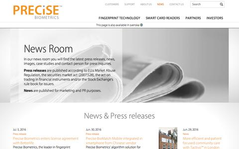 Screenshot of Press Page precisebiometrics.com - Press Room | Press Contact, Press Releases and Case Studies - captured July 14, 2016