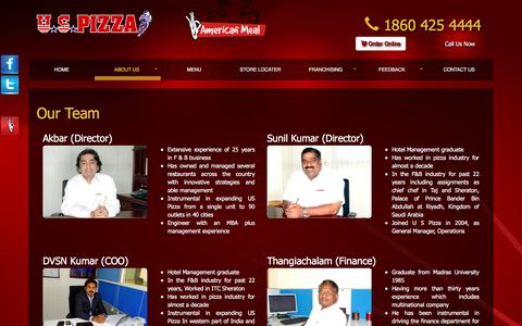 Screenshot of Team Page uspizza.in - Our Team :: U S Pizza - captured Dec. 22, 2015