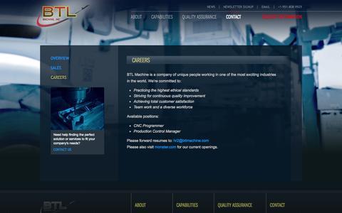 Screenshot of Jobs Page btlmachine.com - Employment at BTL, Precision Machining, Programmer Careers    BTL Machine - captured Sept. 30, 2014