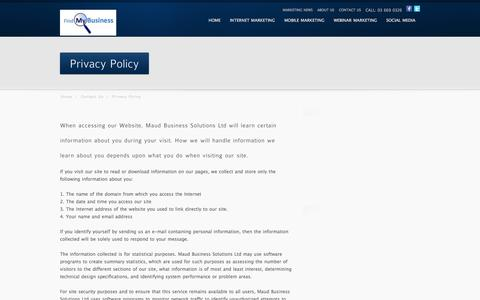 Screenshot of Privacy Page findmybusiness.co.nz - Privacy Policy - captured Sept. 30, 2014