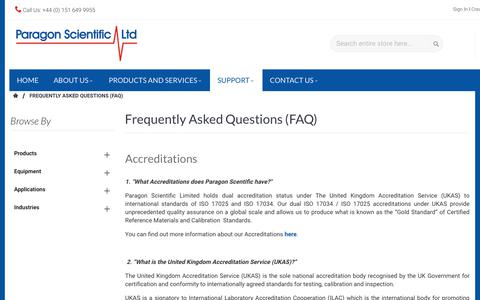 Screenshot of FAQ Page paragon-sci.com - Frequently Asked Questions (FAQ) - captured Dec. 14, 2018