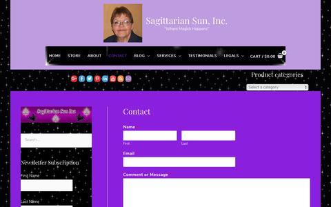 Screenshot of Contact Page sagsun.com - Contact - Sagittarian Sun, Inc. - captured Oct. 1, 2018