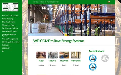 Screenshot of Home Page raxel.co.uk - Raxel Storage Systems | Warehouse Racking & Storage Solutions - captured Oct. 20, 2018