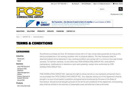 Screenshot of Terms Page posconsultinggroup.com - Terms & Conditions - captured Oct. 1, 2014