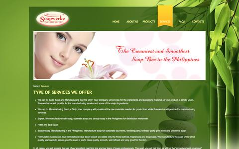 Screenshot of Services Page soapwerkeinc.com - Beauty Soap Manufacturing Philippines - Soapwerke Inc. - captured March 17, 2016