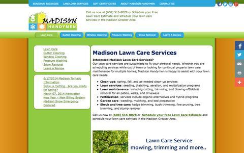 Screenshot of Home Page madisonhandymen.com - Madison Lawn Care Services - Madison Handymen - captured Sept. 30, 2014