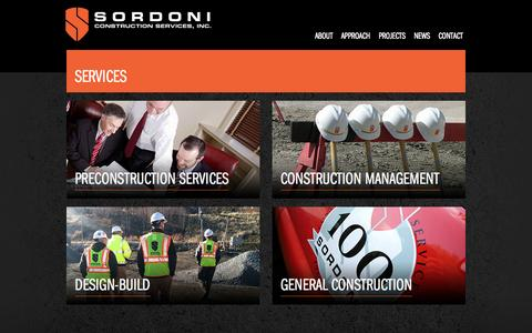 Screenshot of Services Page sordoni.com - Services | Sordoni Construction - captured Oct. 6, 2014