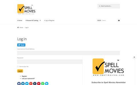 Screenshot of Login Page spellmovies.com - Log In – Spell Movies - captured Sept. 21, 2018