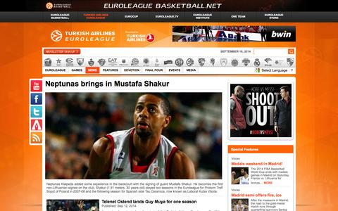 Screenshot of Press Page euroleague.net - Latest - Welcome to EUROLEAGUE BASKETBALL - captured Sept. 19, 2014