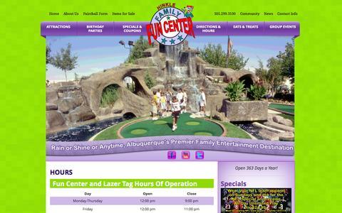 Screenshot of Hours Page hinklefamilyfuncenter.com - Hours - Hinkle Family Fun Center - captured Sept. 30, 2014