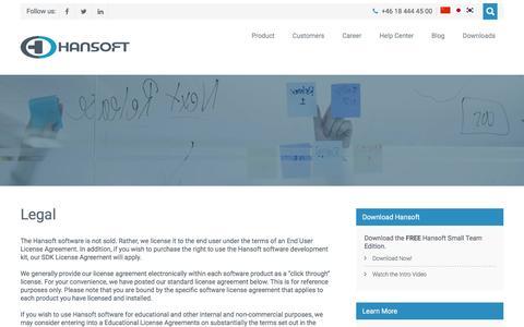 Screenshot of Terms Page hansoft.com - Legal – Hansoft - captured July 3, 2016