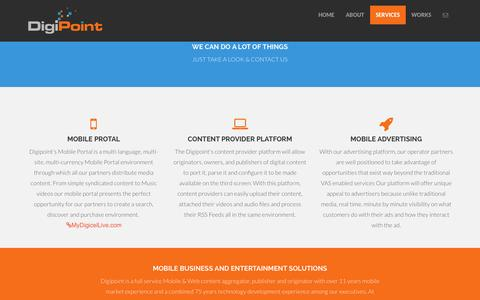 Screenshot of Services Page digipoint.biz - DigiPoint Ltd. - Services - captured Oct. 1, 2014