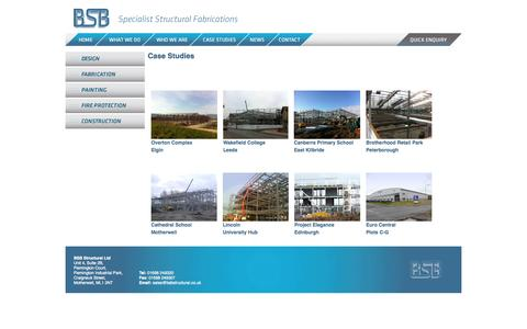 Screenshot of Case Studies Page bsbstructural.co.uk - Case Studies | BSB Structural - captured Oct. 4, 2014