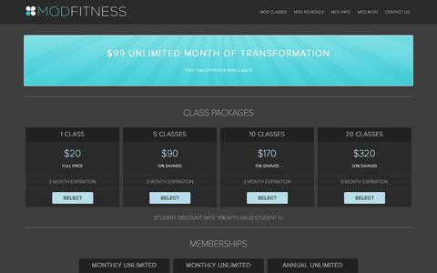 Screenshot of Pricing Page modfitnessaustin.com - Mod Fitness Austin - captured Oct. 3, 2014