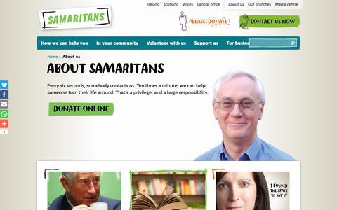 Screenshot of About Page samaritans.org - About us   Samaritans - captured Oct. 5, 2017