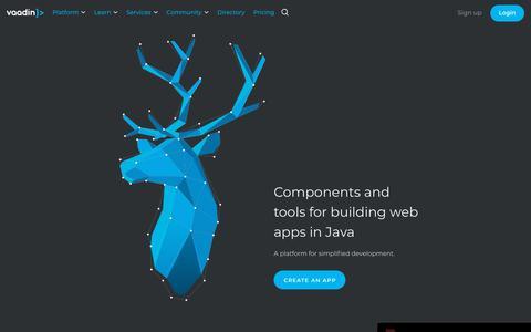 Screenshot of Home Page vaadin.com - Vaadin Platform – Web Components, Java web framework, and tools for simplified development of web apps - captured Feb. 1, 2019