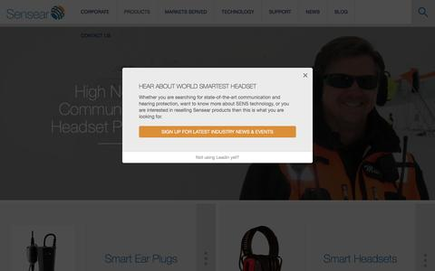 Screenshot of Products Page sensear.com - Two Way Radio Headset | Noise Cancelling Bluetooth Headsets | Products - captured May 28, 2016