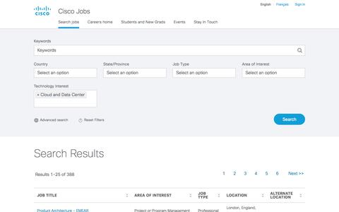 Screenshot of Jobs Page cisco.com - Find Jobs - Cisco Jobs - captured Jan. 20, 2018