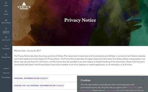 Screenshot of Privacy Page vrtx.com - Privacy | Vertex Pharmaceuticals - captured April 11, 2017