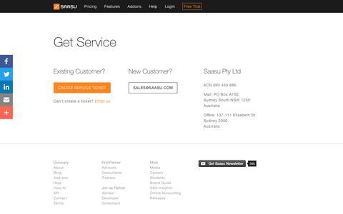 Screenshot of Contact Page saasu.com - Saasu: Contact - captured May 27, 2017