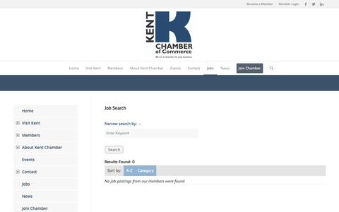 Screenshot of Jobs Page kentchamber.com - Job Search - Kent Chamber of Commerce - captured Oct. 15, 2018