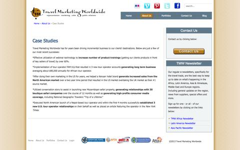 Screenshot of Case Studies Page travelmarketingworldwide.com - Case Studies - captured Oct. 7, 2014