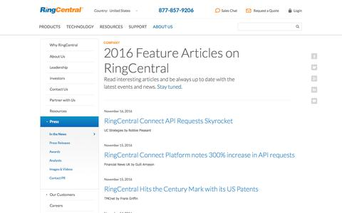 Screenshot of Press Page ringcentral.com - RingCentral in the News 2016 - captured Dec. 5, 2016