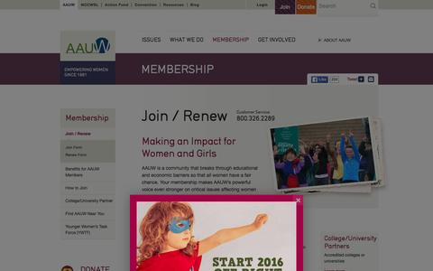 Screenshot of Signup Page aauw.org - Join / Renew: AAUW - captured Dec. 22, 2015