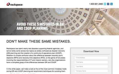 Screenshot of Landing Page rackspace.com - Five Mistakes in DR and COOP Planning - captured Sept. 22, 2018
